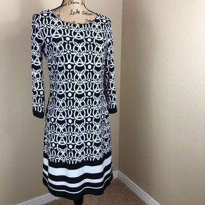 INC International Concepts Black White Dress M